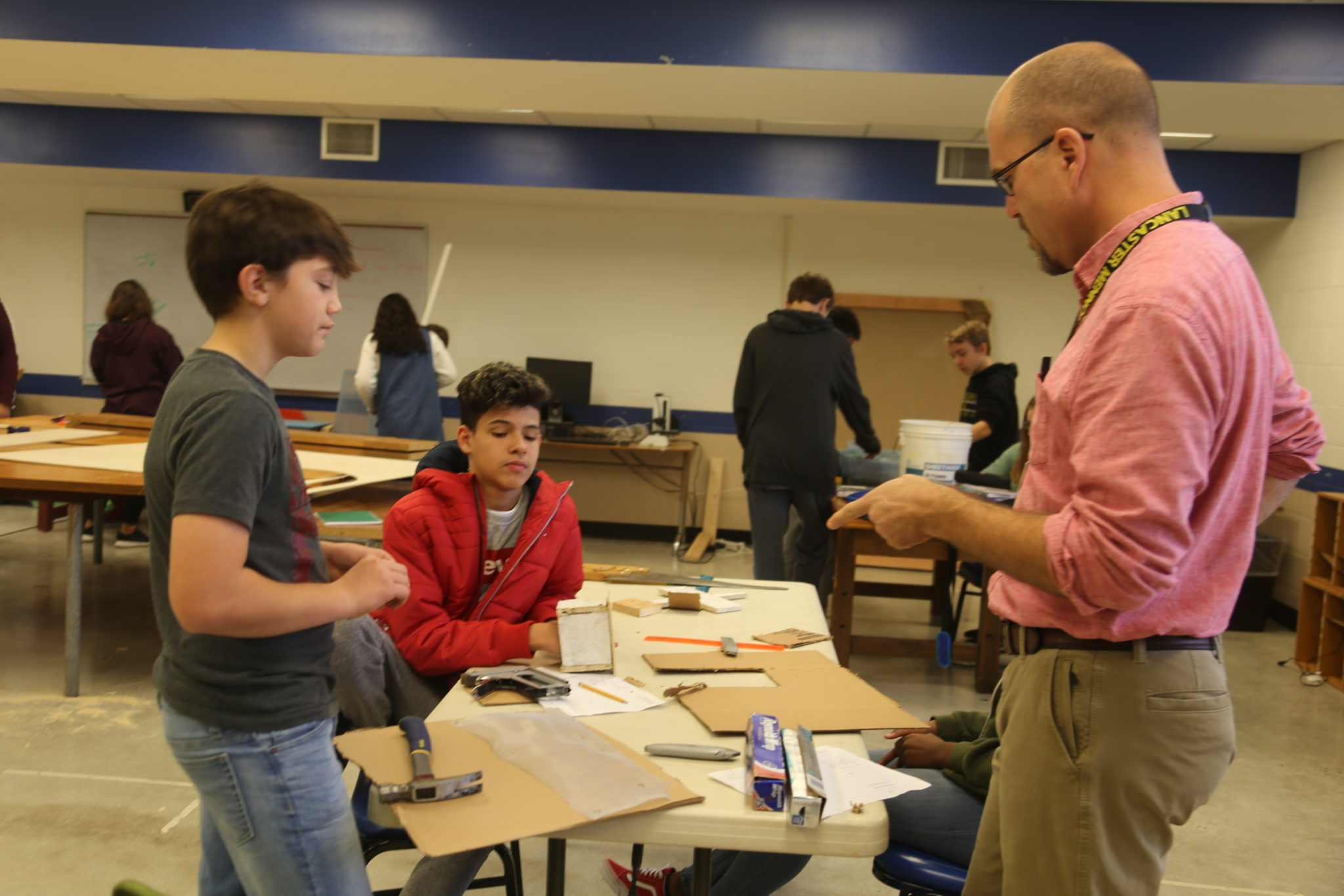 students working in maker space area