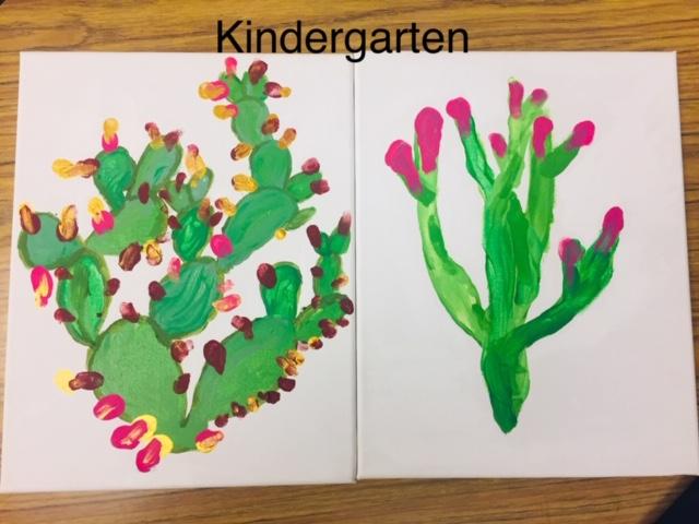 Kindergarten painting of a cactus