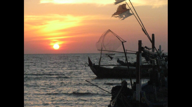 sunset photo with boats
