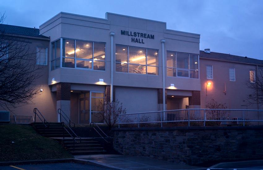 millstream hall entrance at twilight
