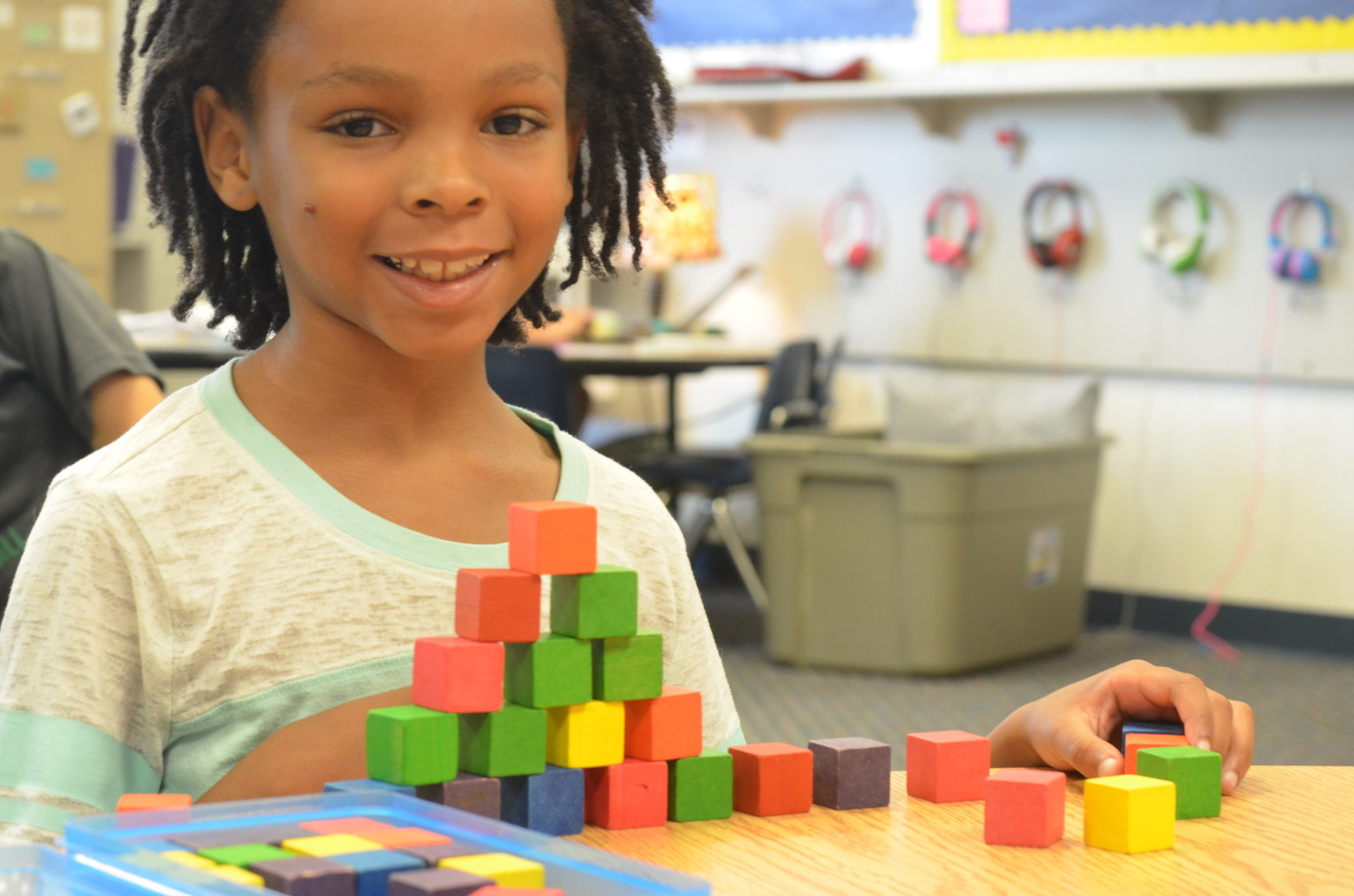 student building with small wooden blocks