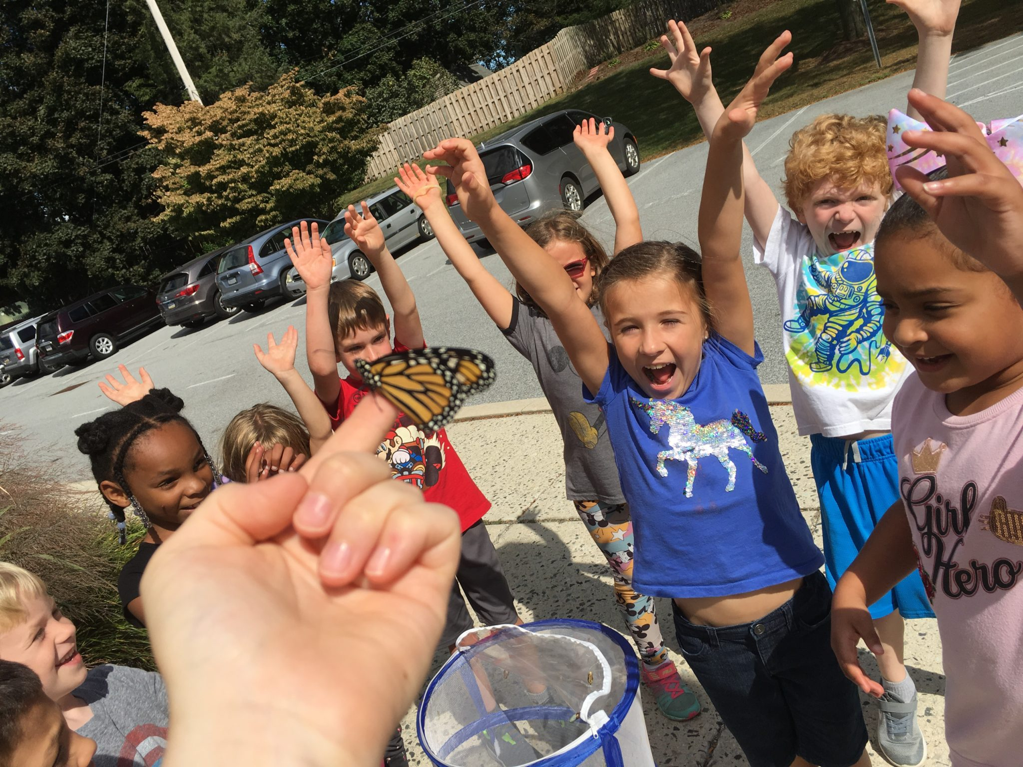 students enjoying a butterfly