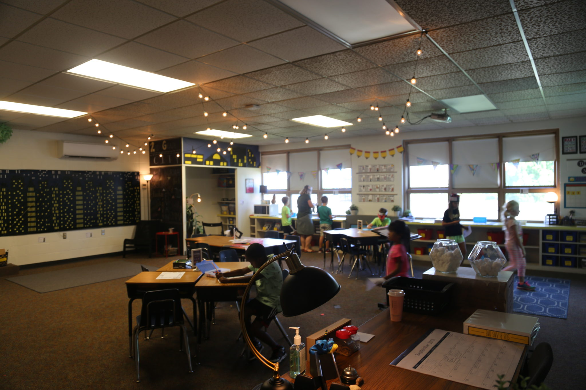 students working together in classroom