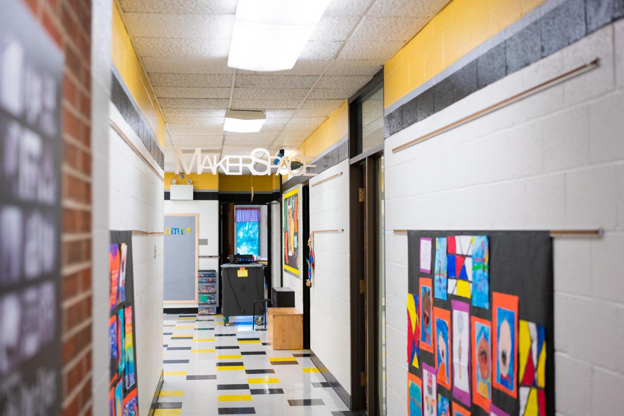 hallway of elementary school