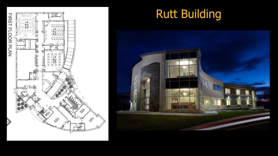 rutt building exterior at night