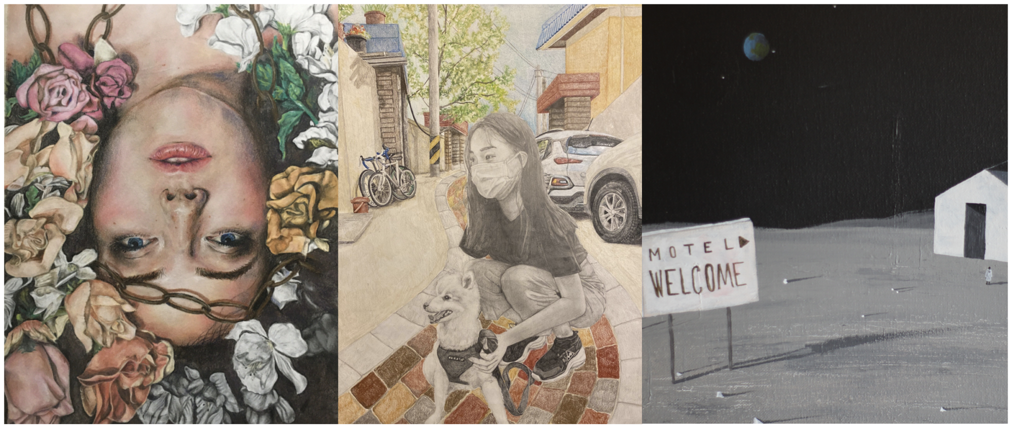 collage of art from middle school art gallery