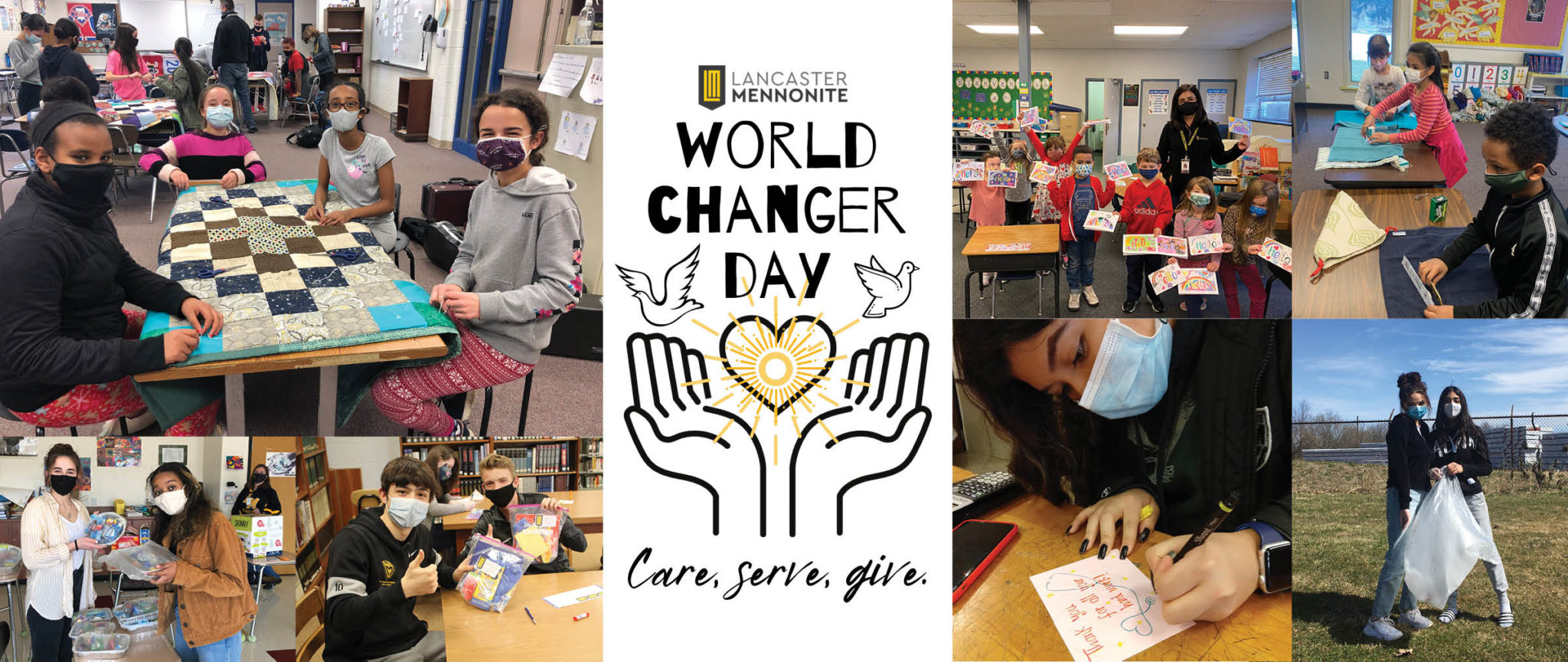 world changer banner with photos from the day