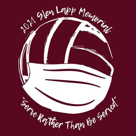 glen lapp vball tshirt design of volleyball with mask