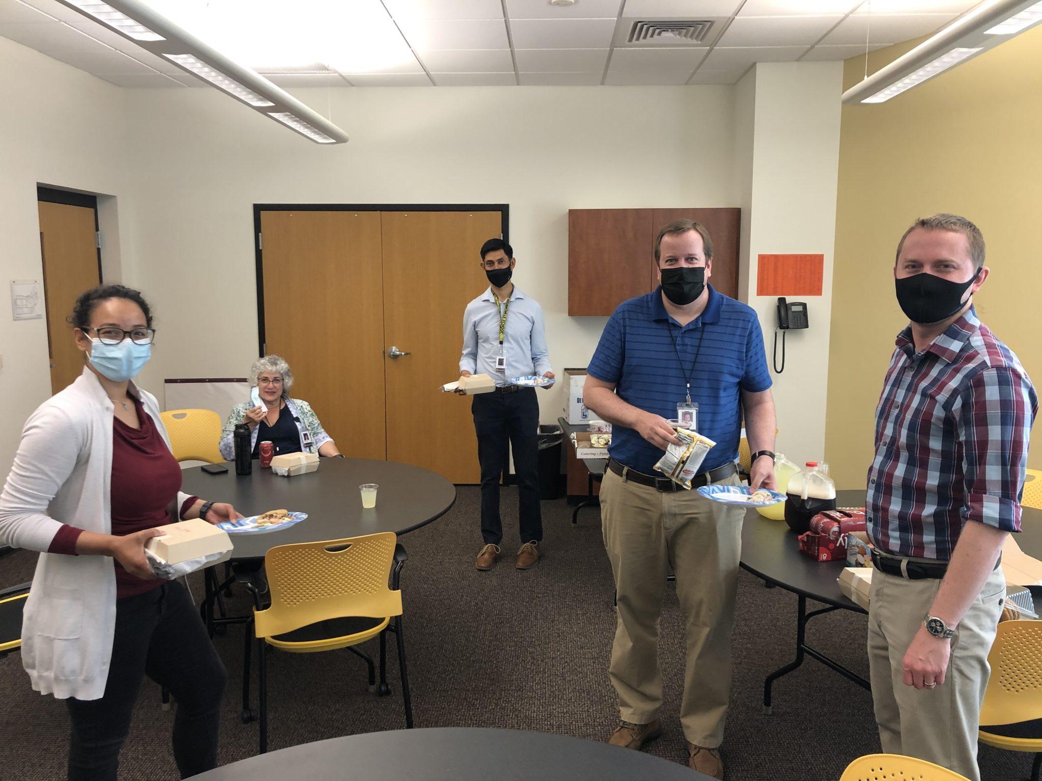 faculty enjoying food for teacher appreciate week