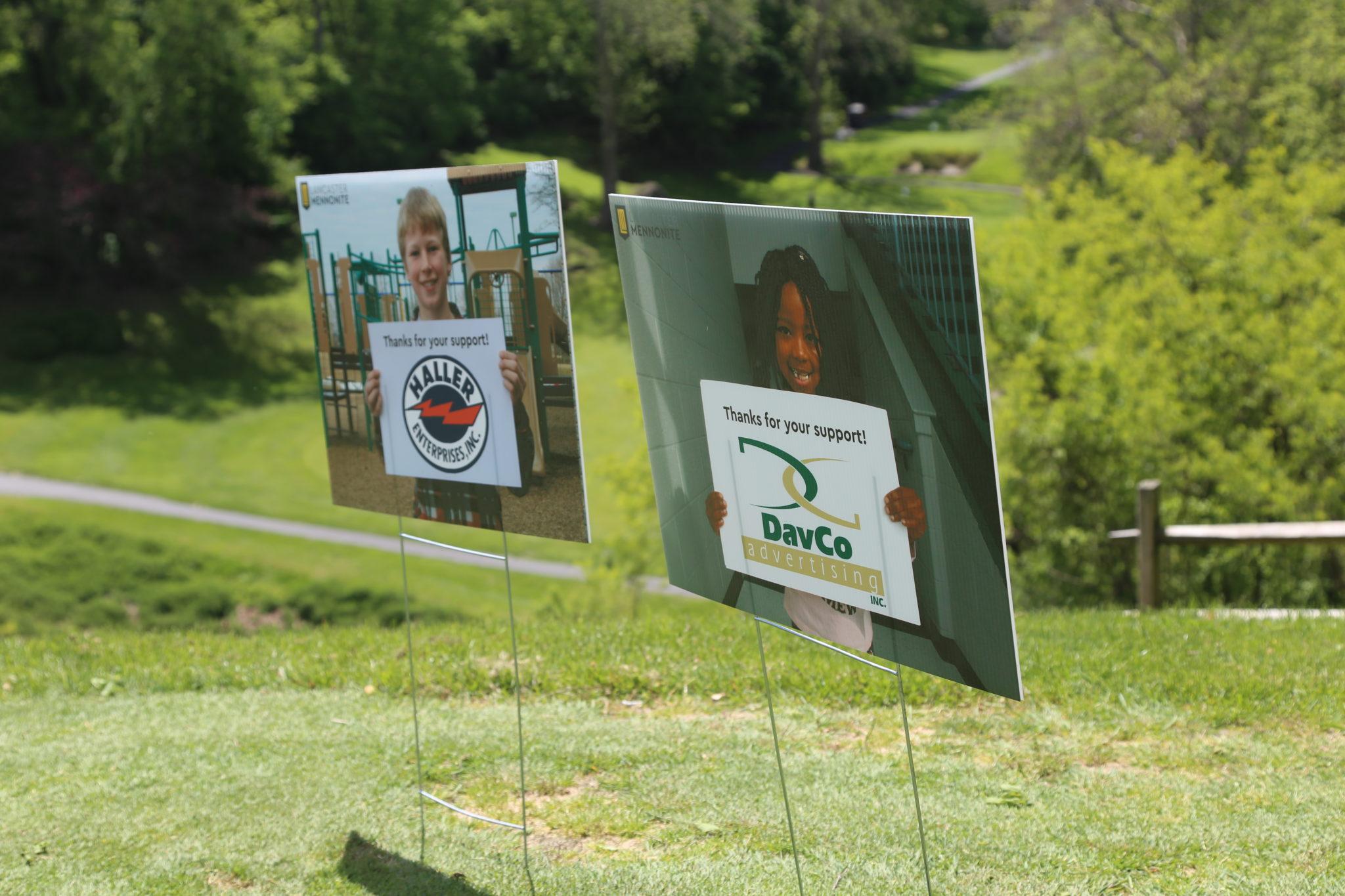 golf tee sponsor signs, daveco & haller enterprises