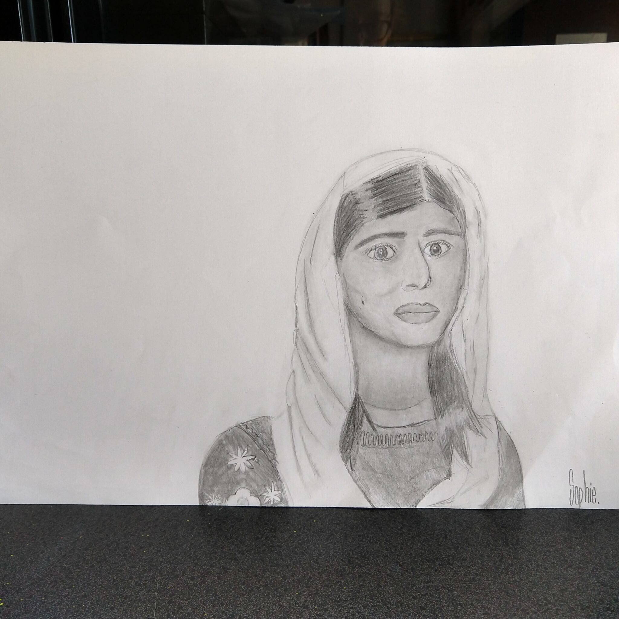 photo of a portrait student artwork