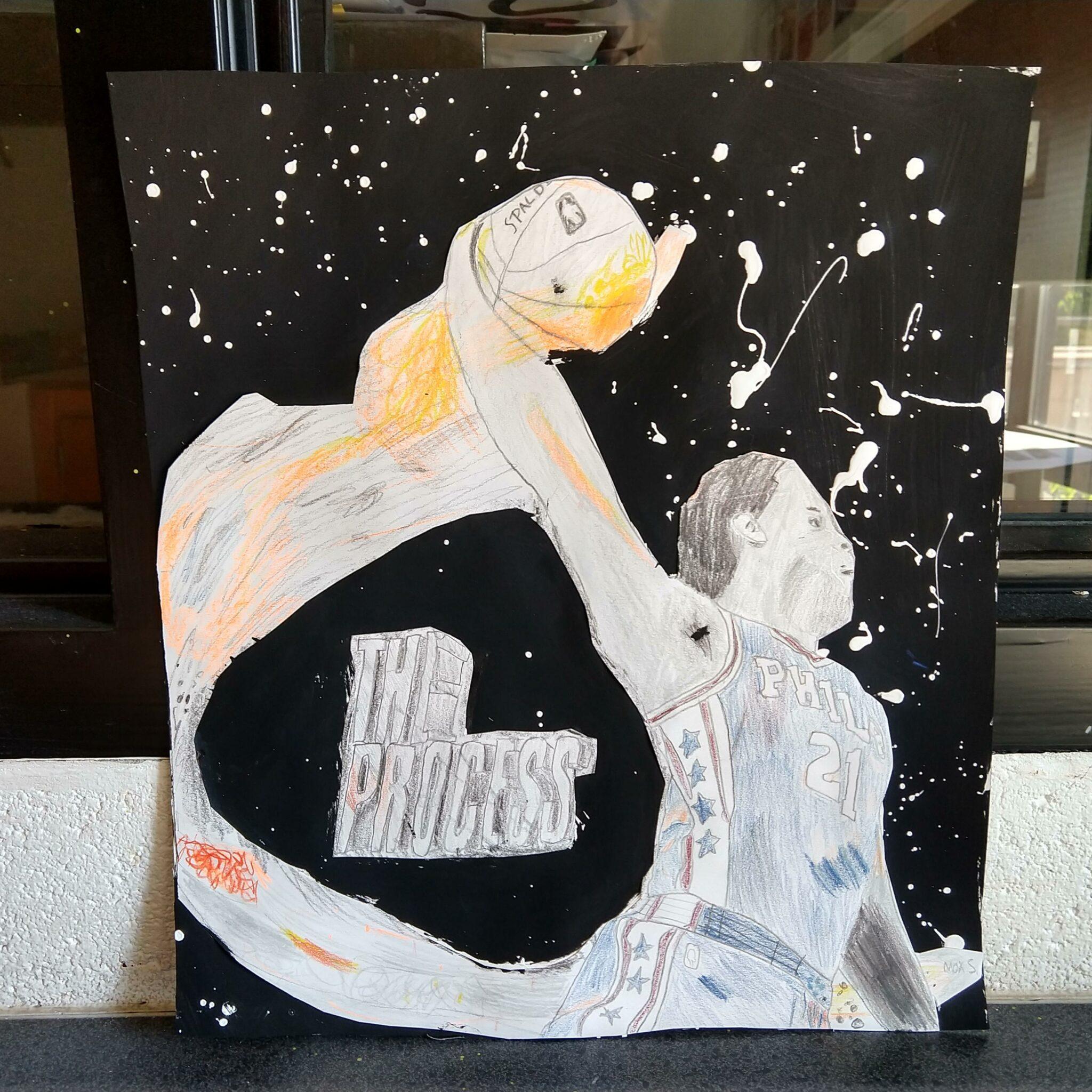 Photo of student artwork, basketball player