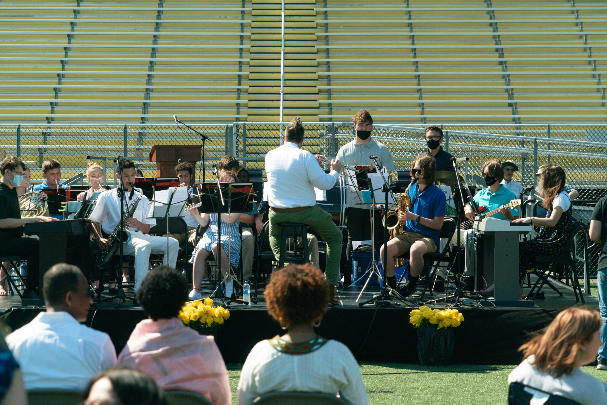 band playing at graduation service