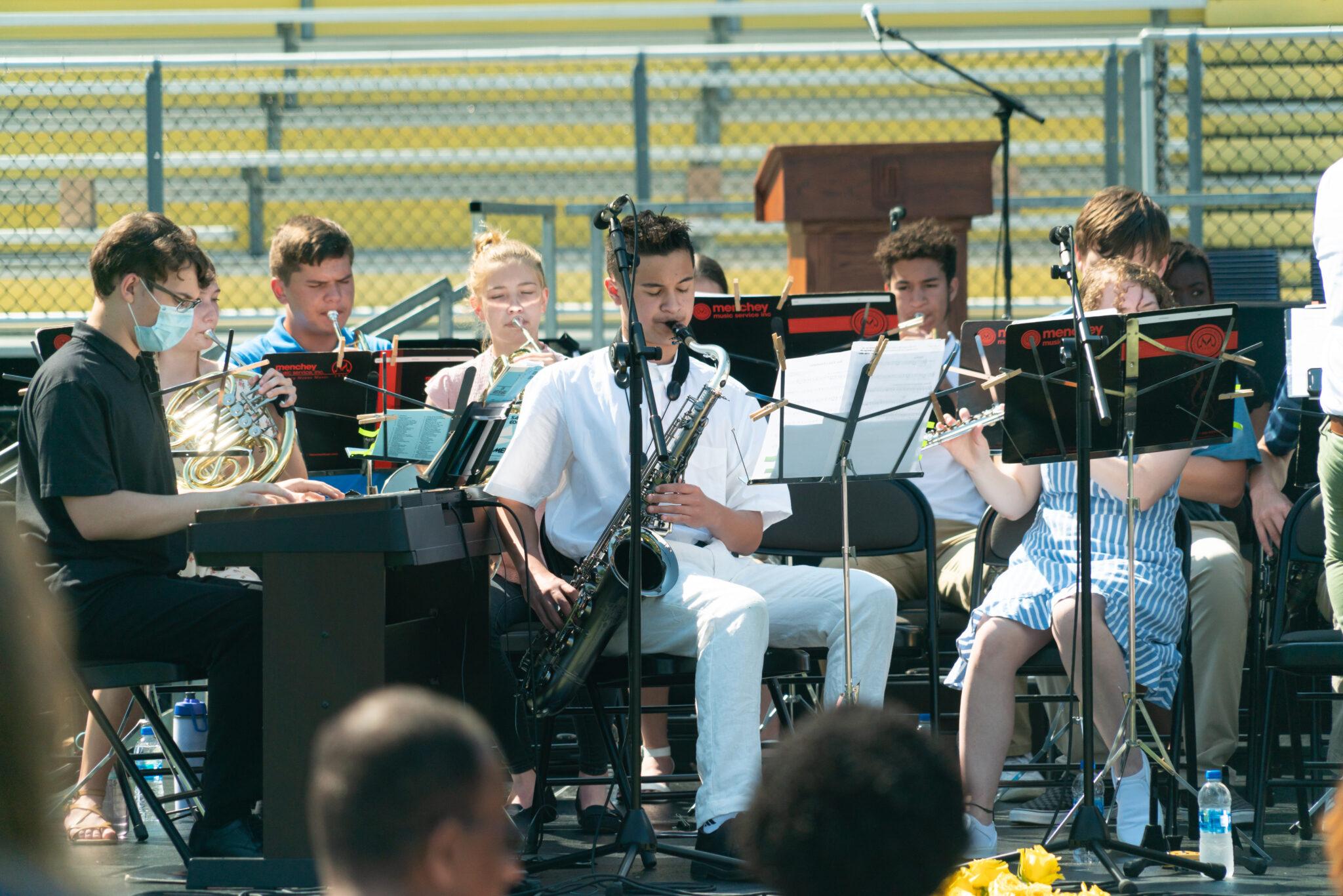 jazz band playing at graduation service