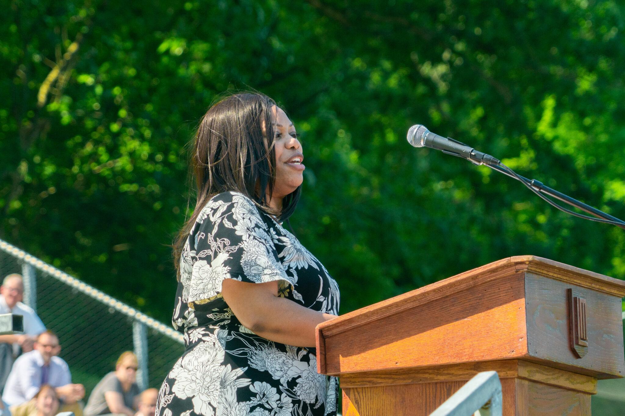 graduation speaker giving commencement address