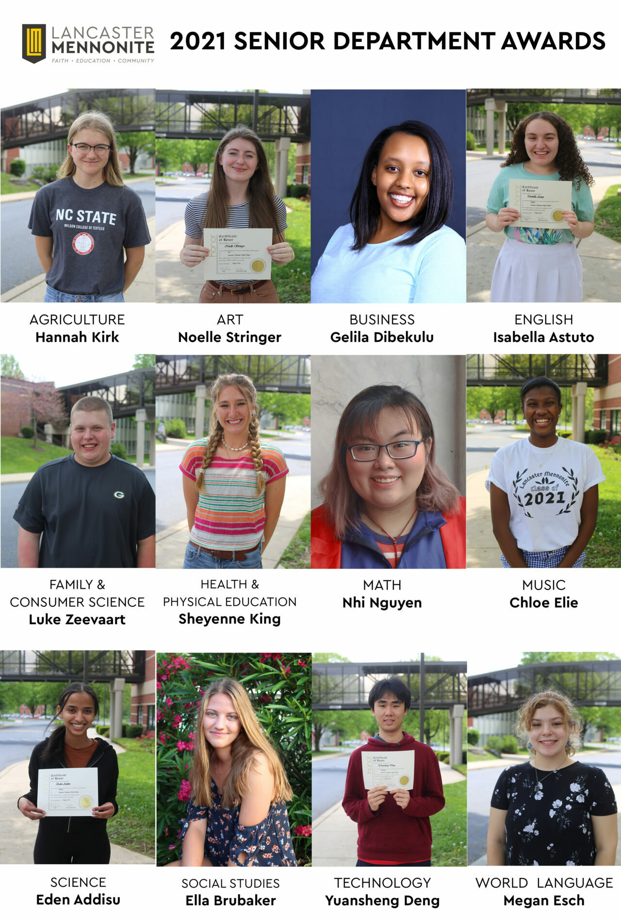 senior award winners photo collage of 12 students