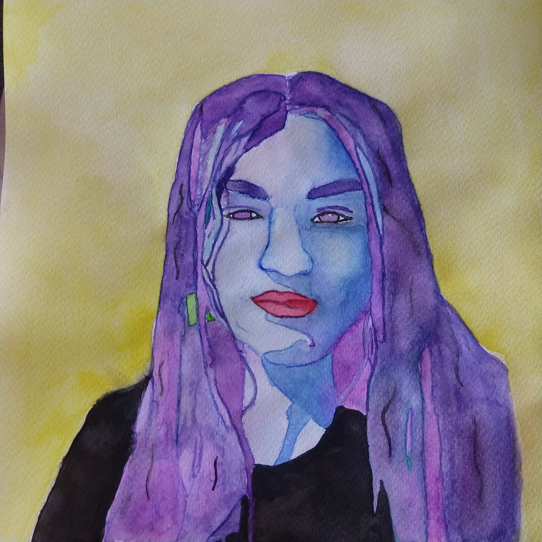 Painting of a person with bright colors and purple hair