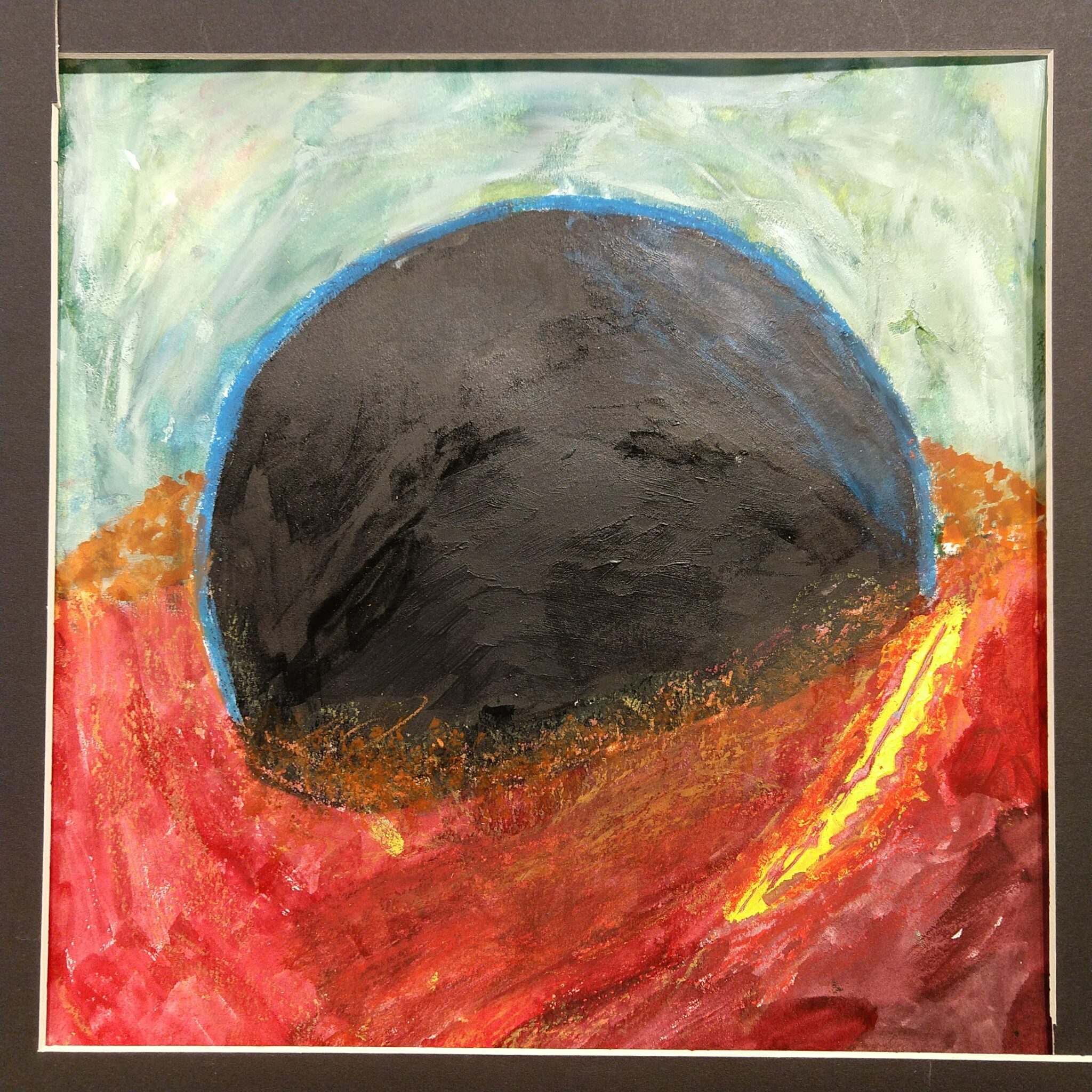 painting of a ball in bright red