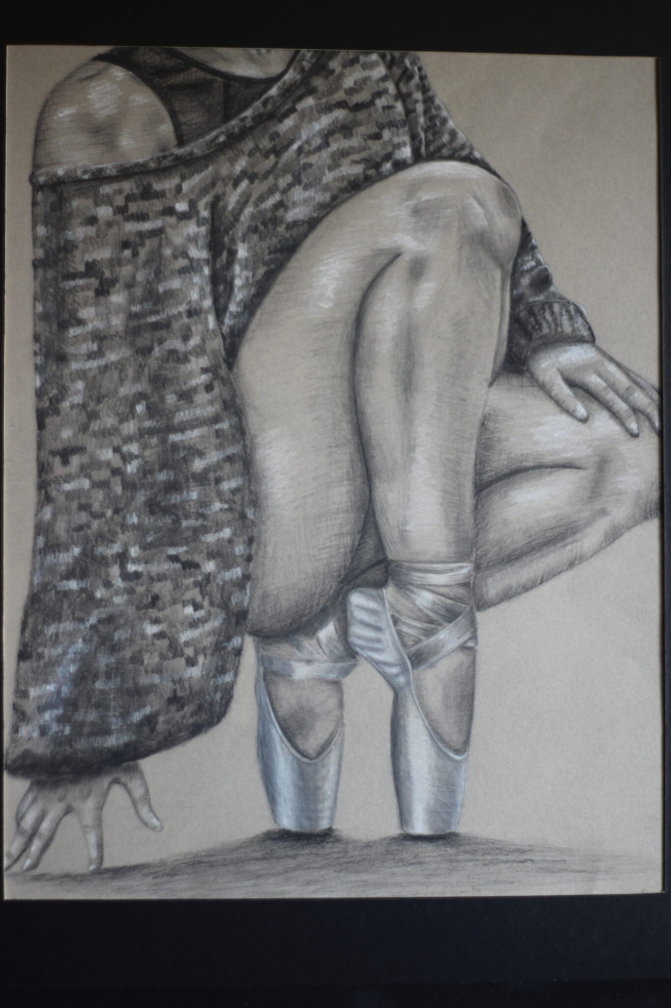 drawing of legs and ballet shoes on
