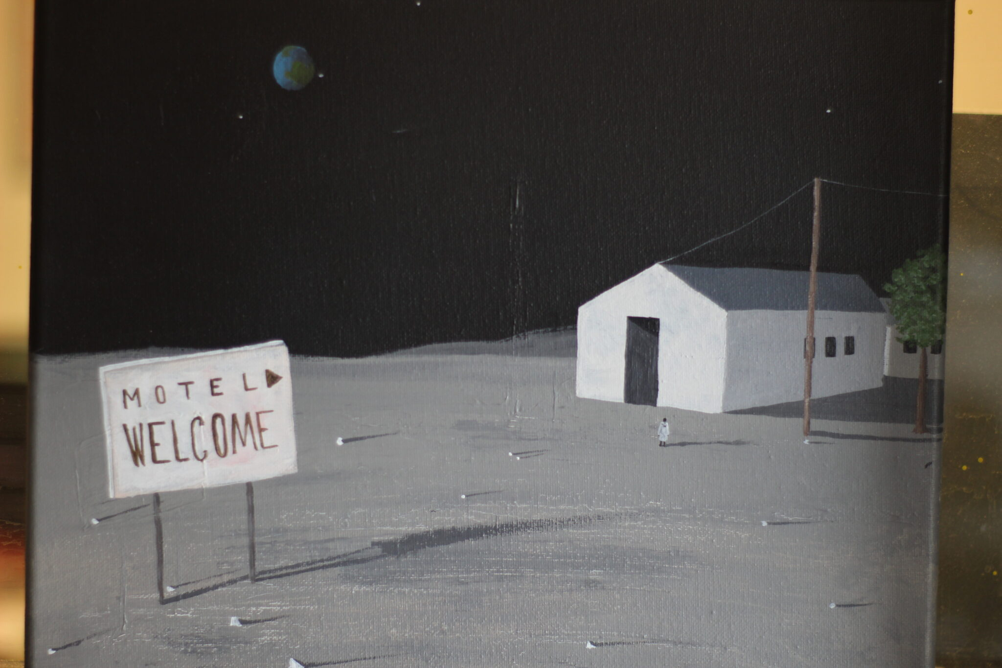 motel welcome painting