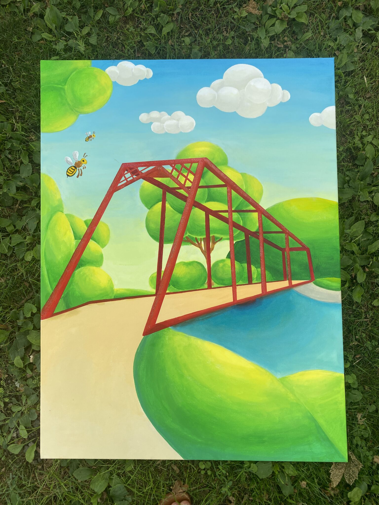 Seunga's Painting with bright colors of red bridge, path and stream
