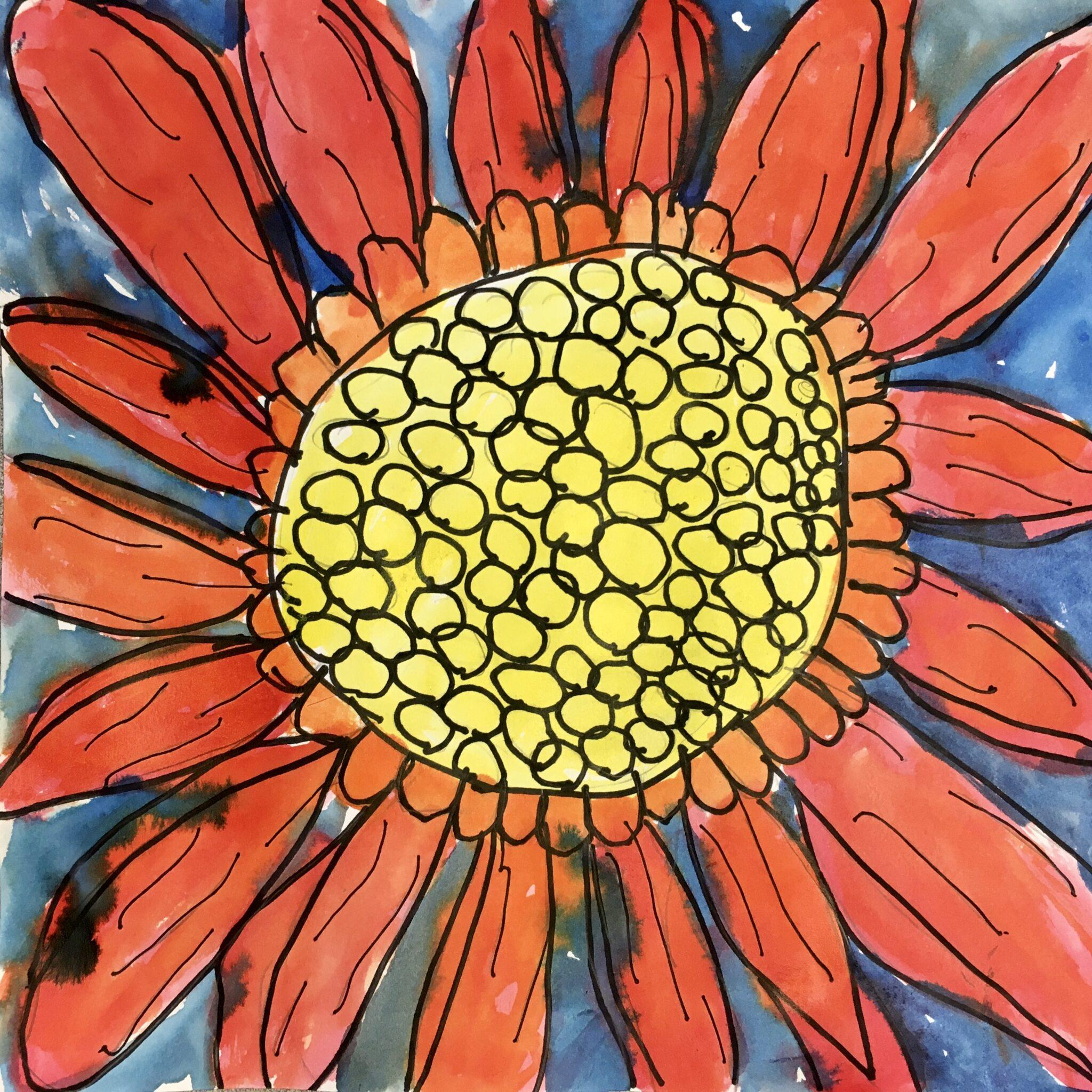student art of a flower