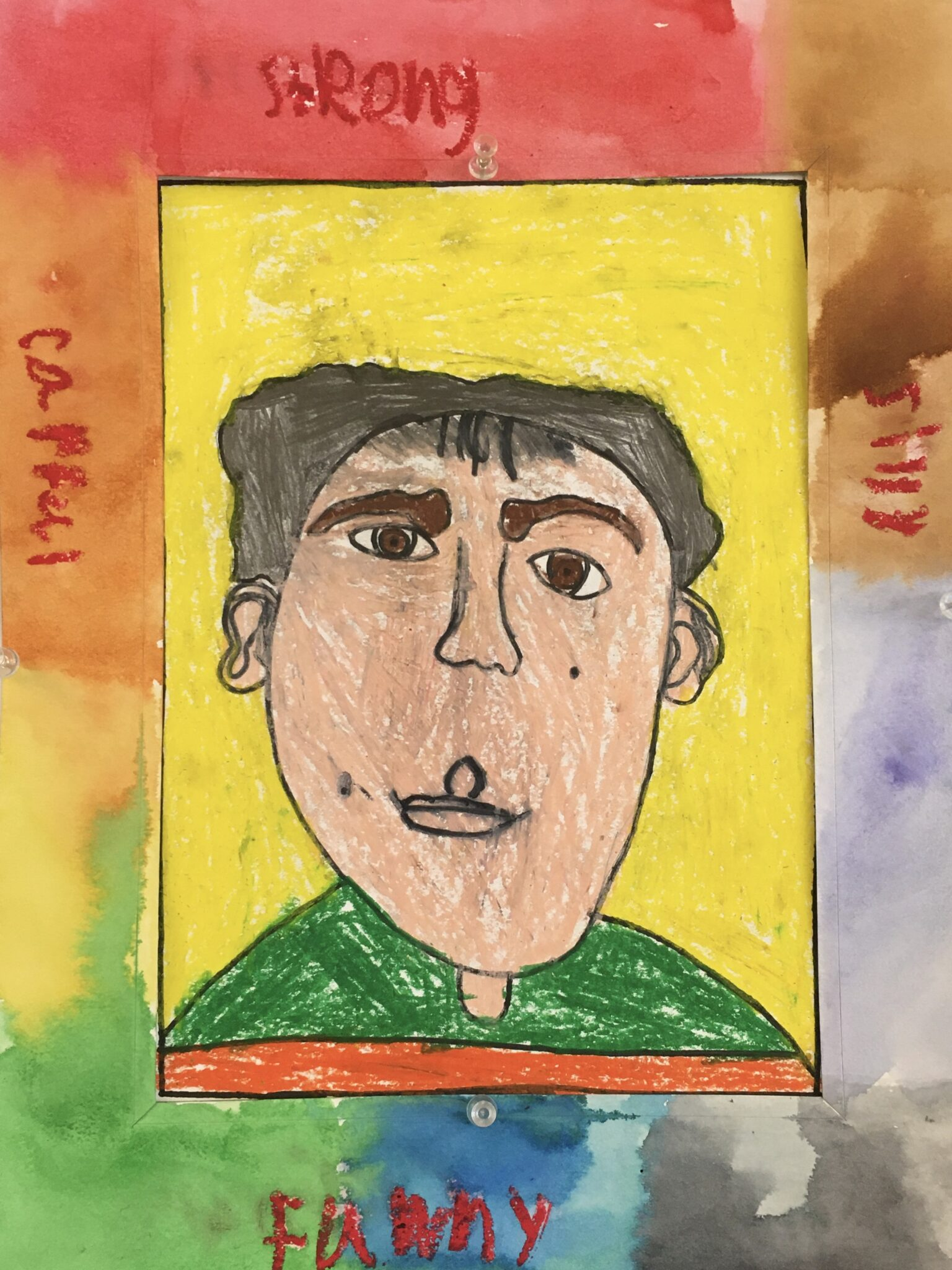 drawing of face, self portrait
