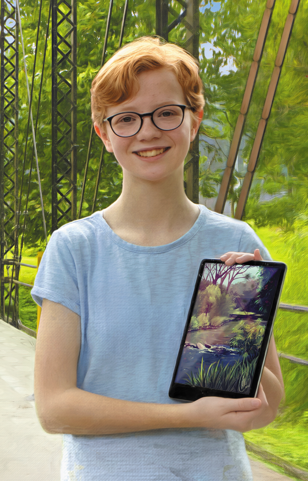 Student with her digital artwork of a bridge