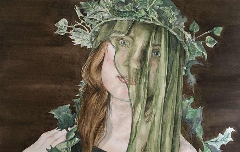 sketch of woman wearing ivy crown
