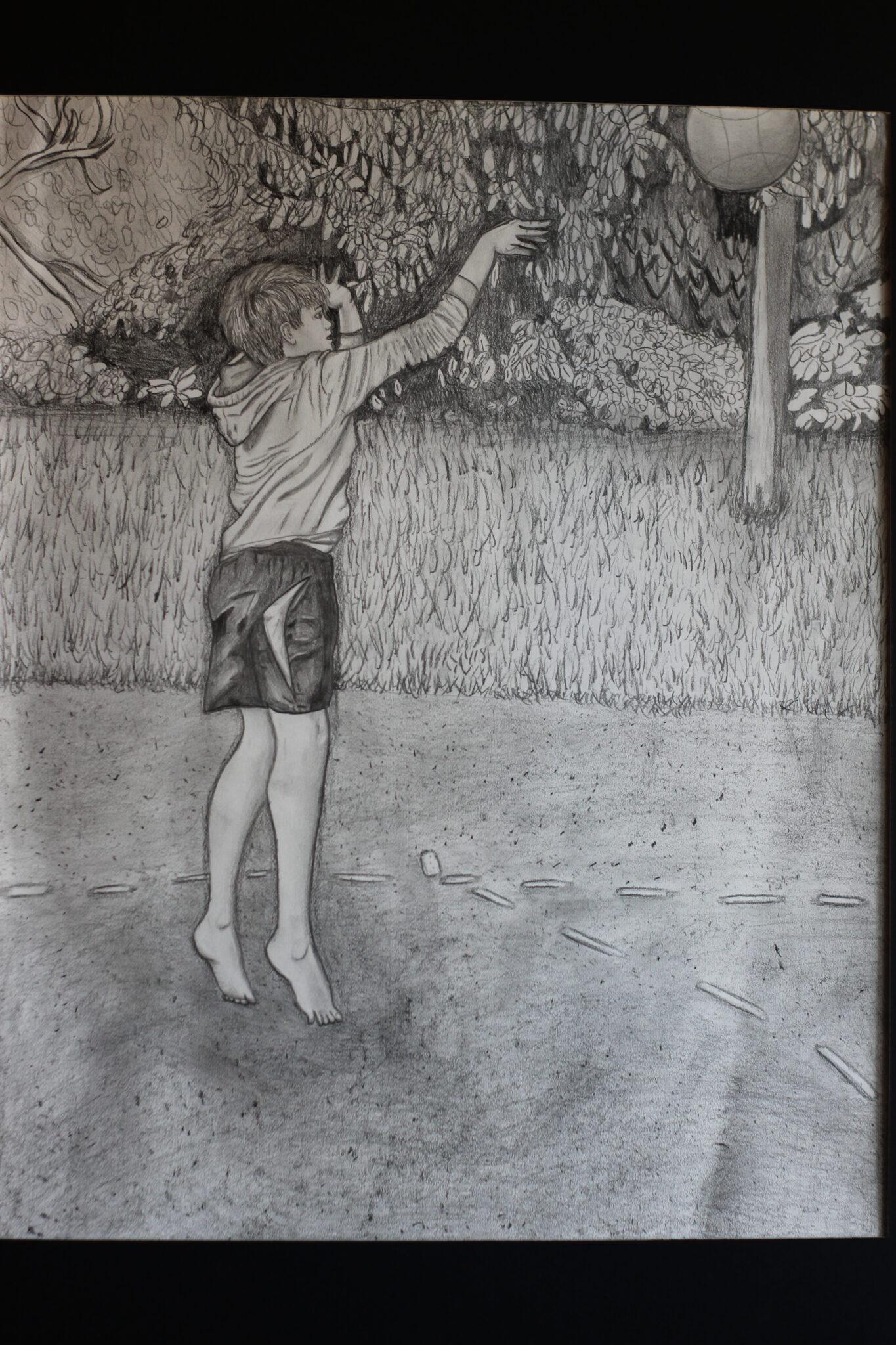 sketch of boy playing basketball