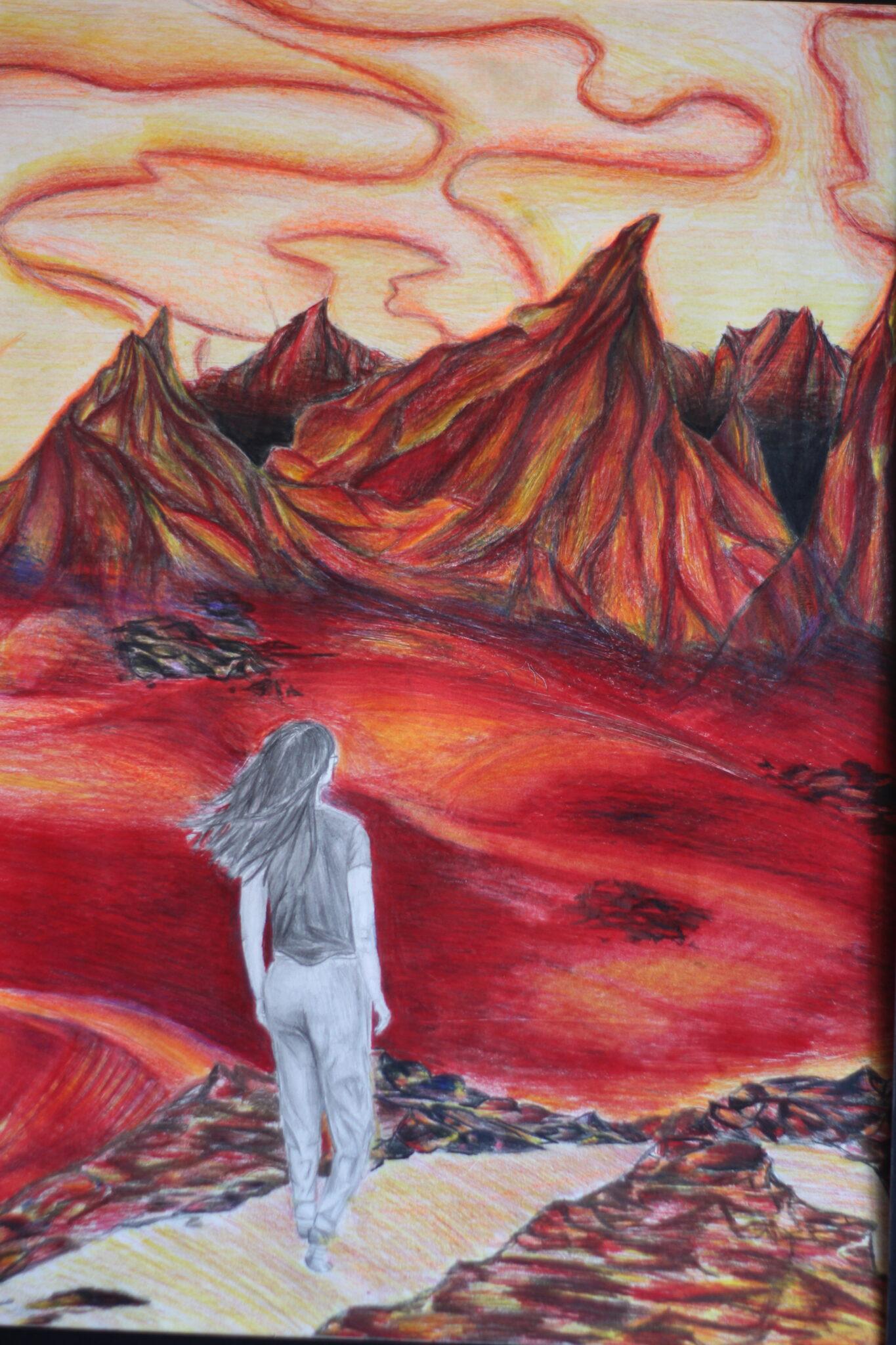 art of woman walking on red mountainous landscape