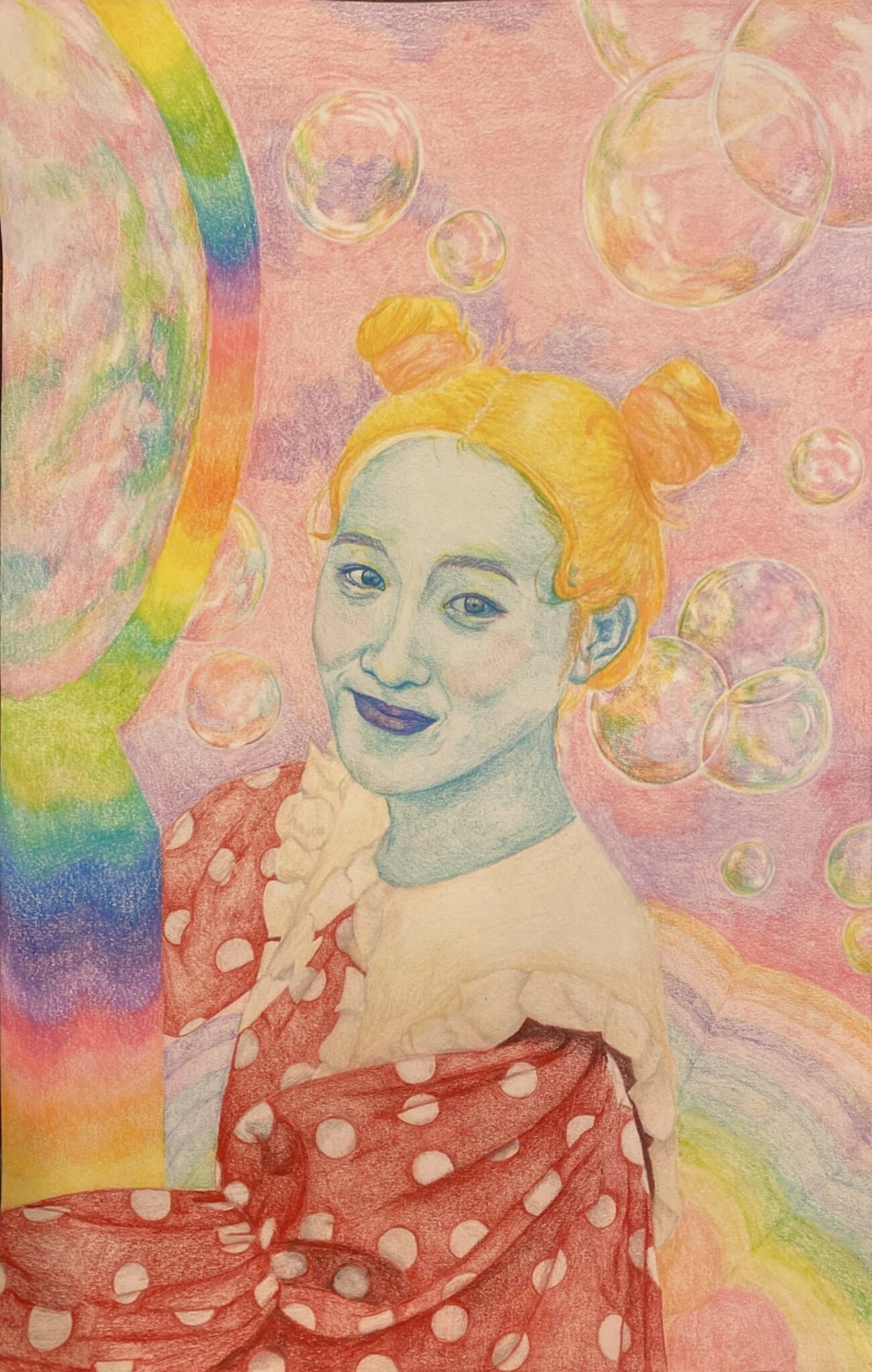 drawing of girl with bright colors