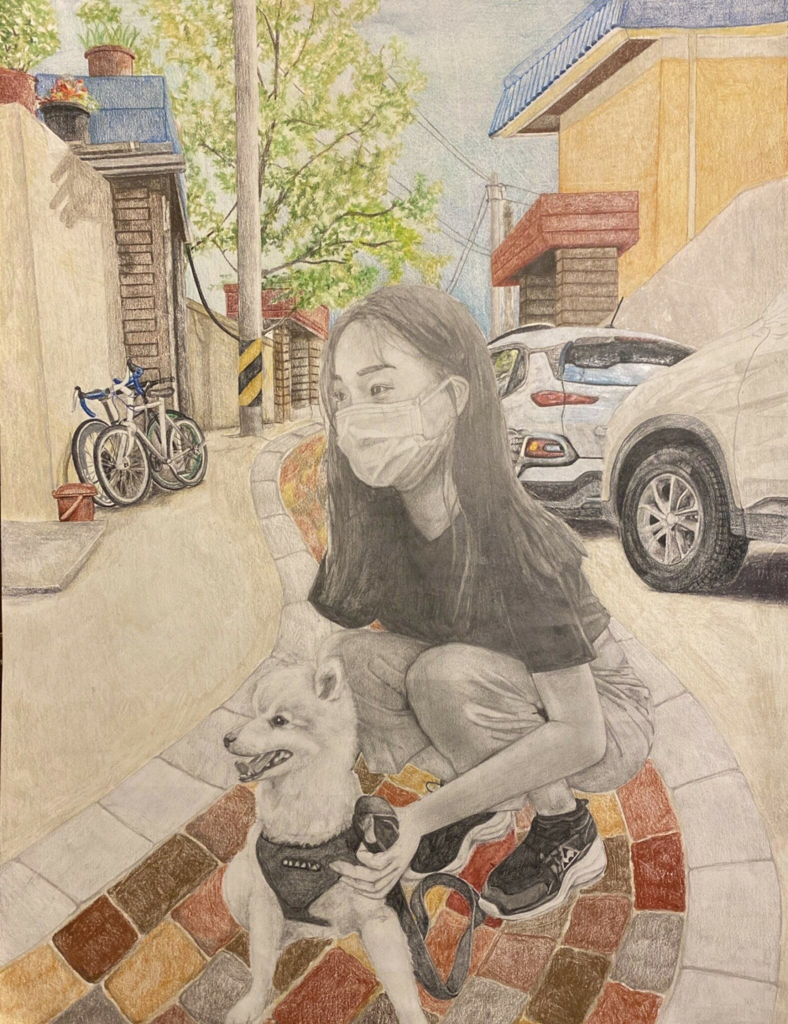 drawing with girl masked and dog in street