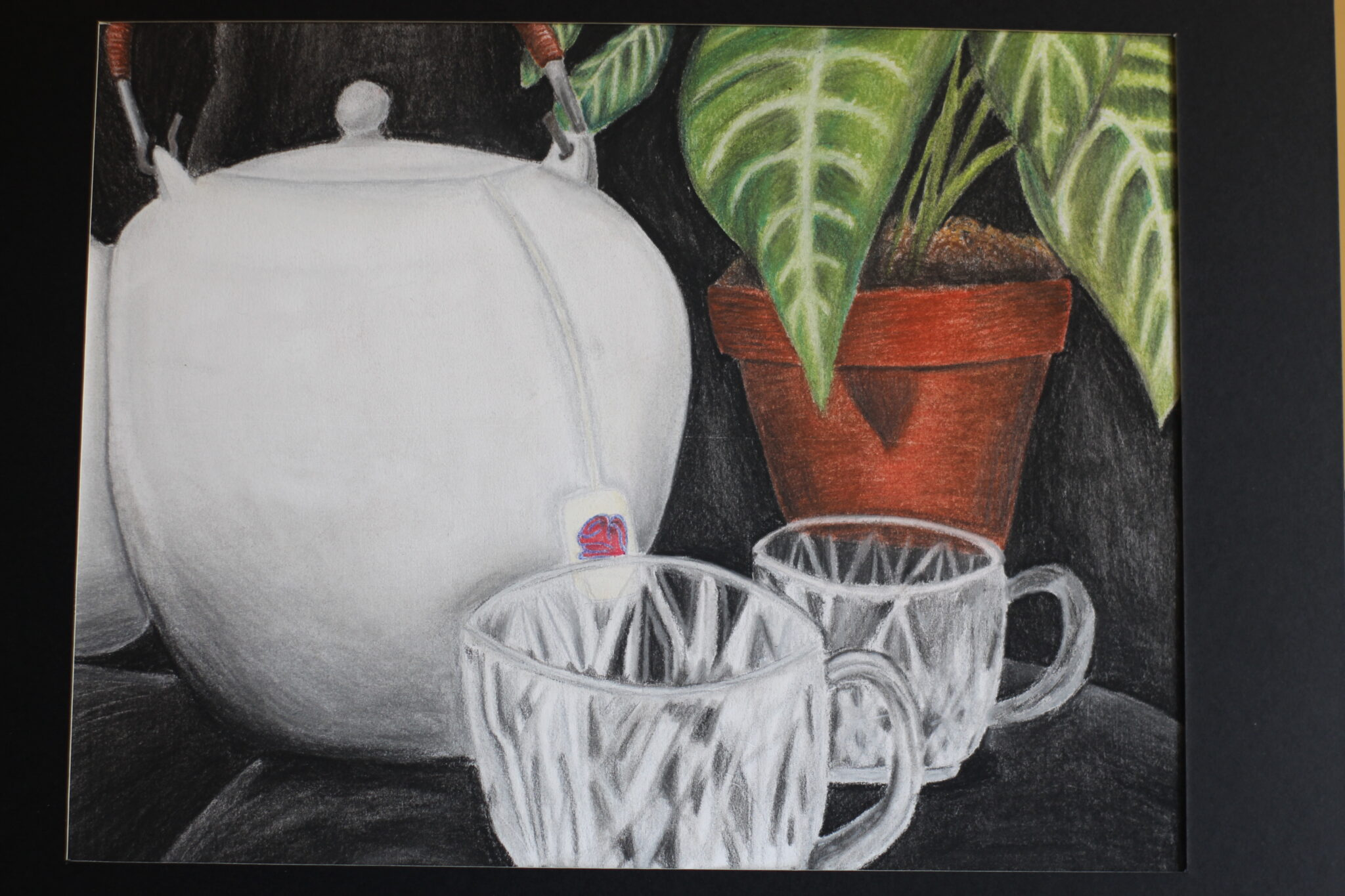 still life of white kettle and glass mugs