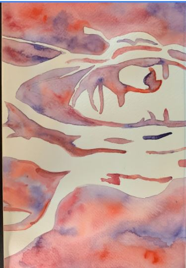 water color self portrait with pastel color pinks and purples