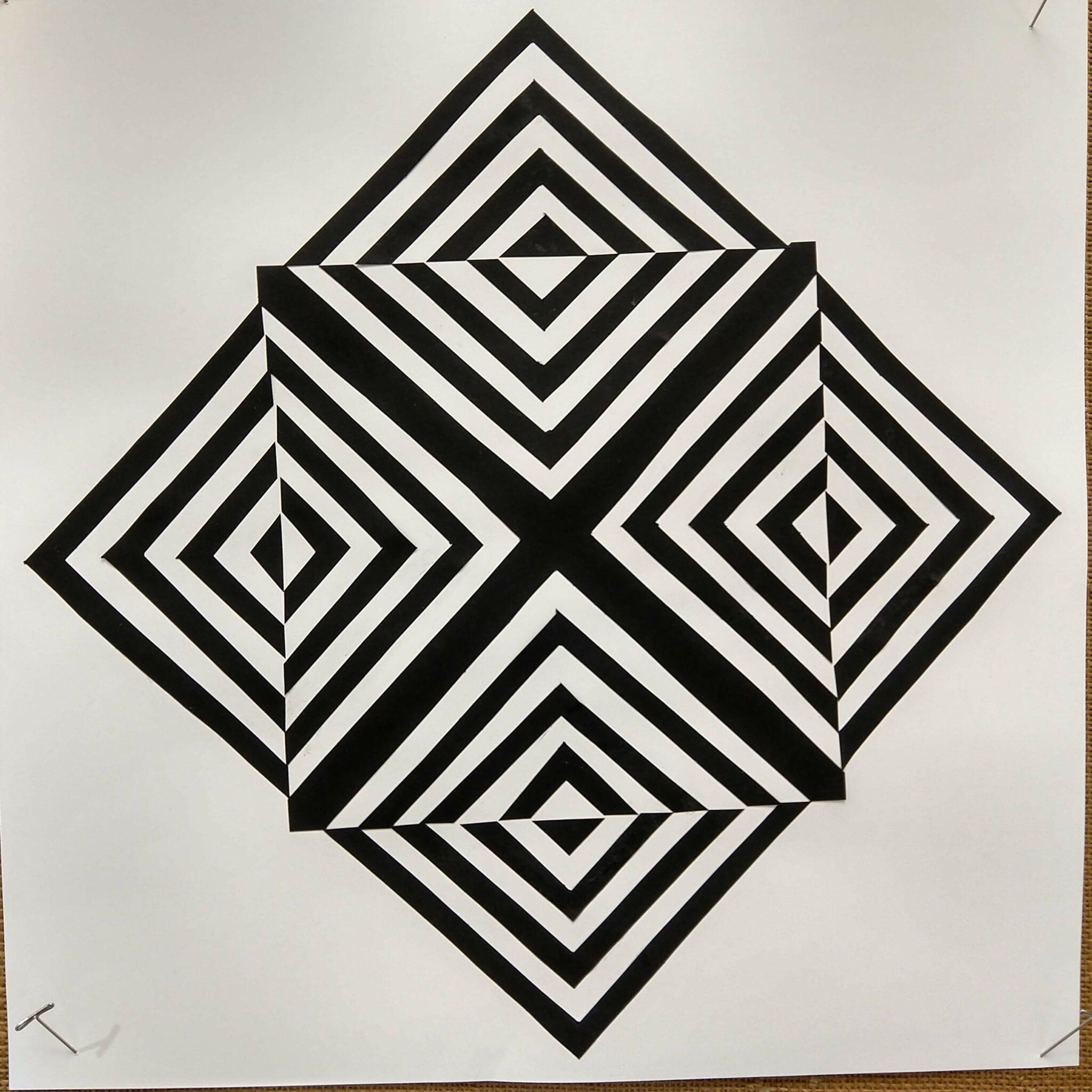 2D design squares inside squares black and white