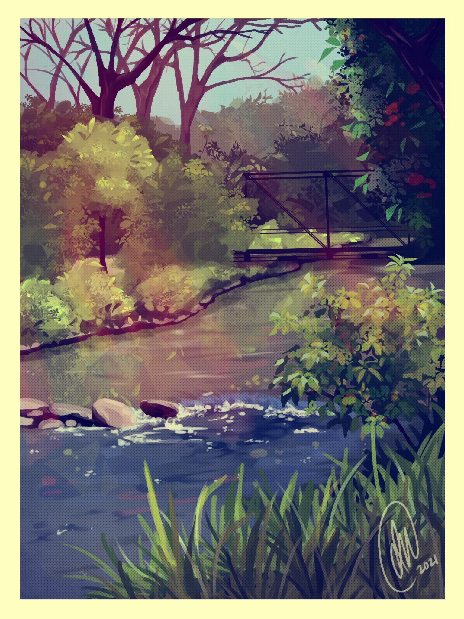Digital painting of bridge and water