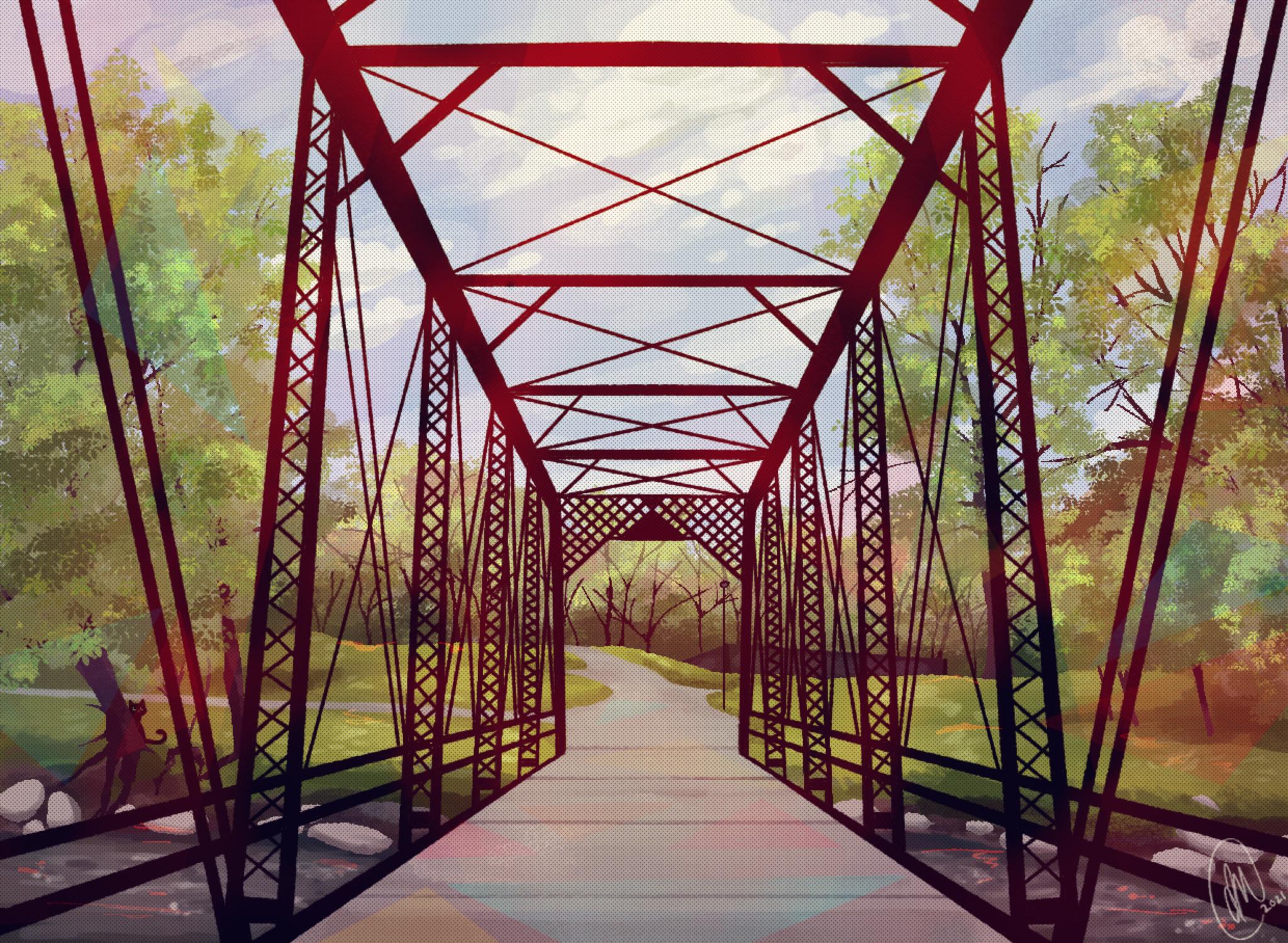 Red bridge straight on