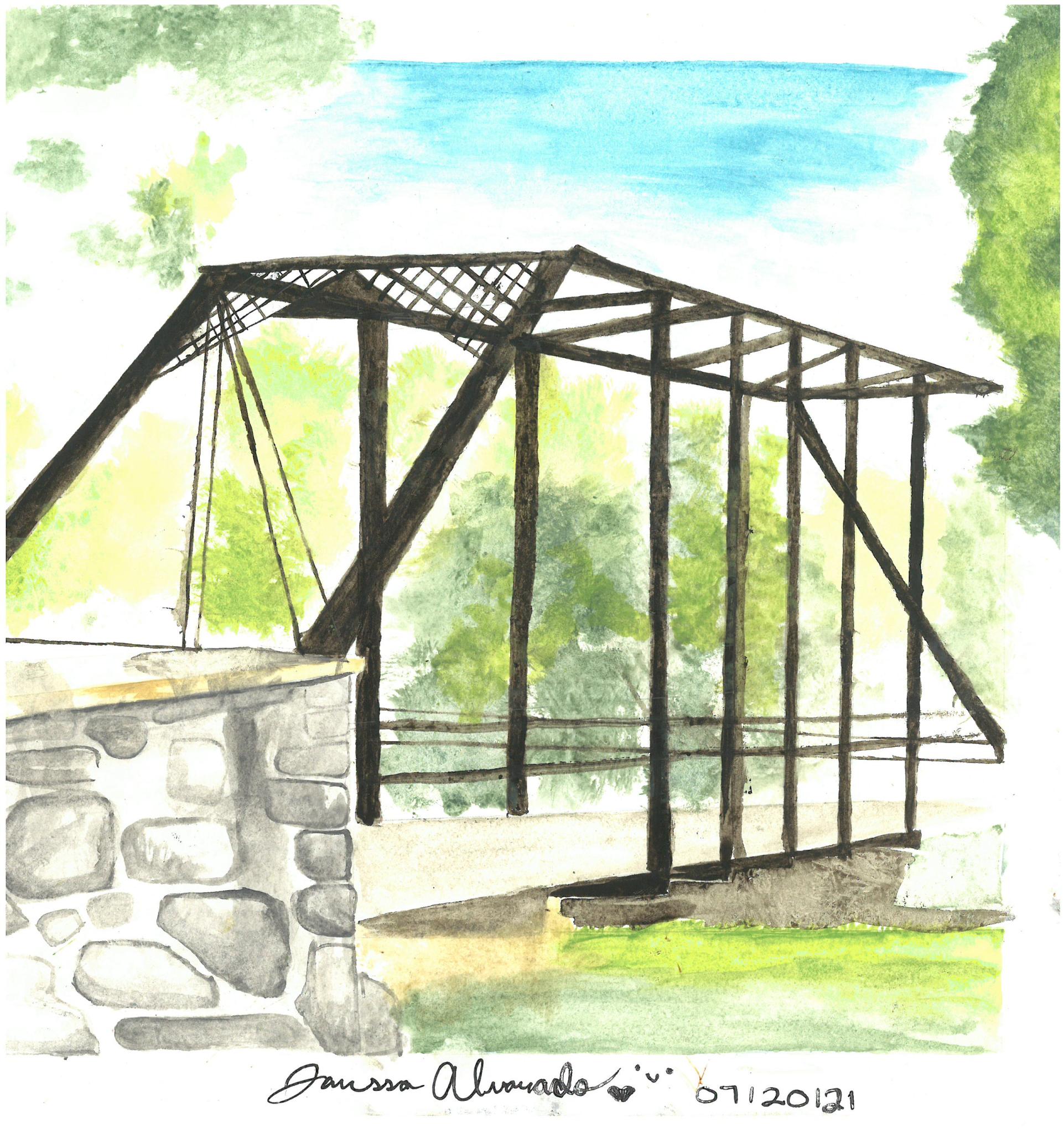 Janessa's watercolor painting of bridge