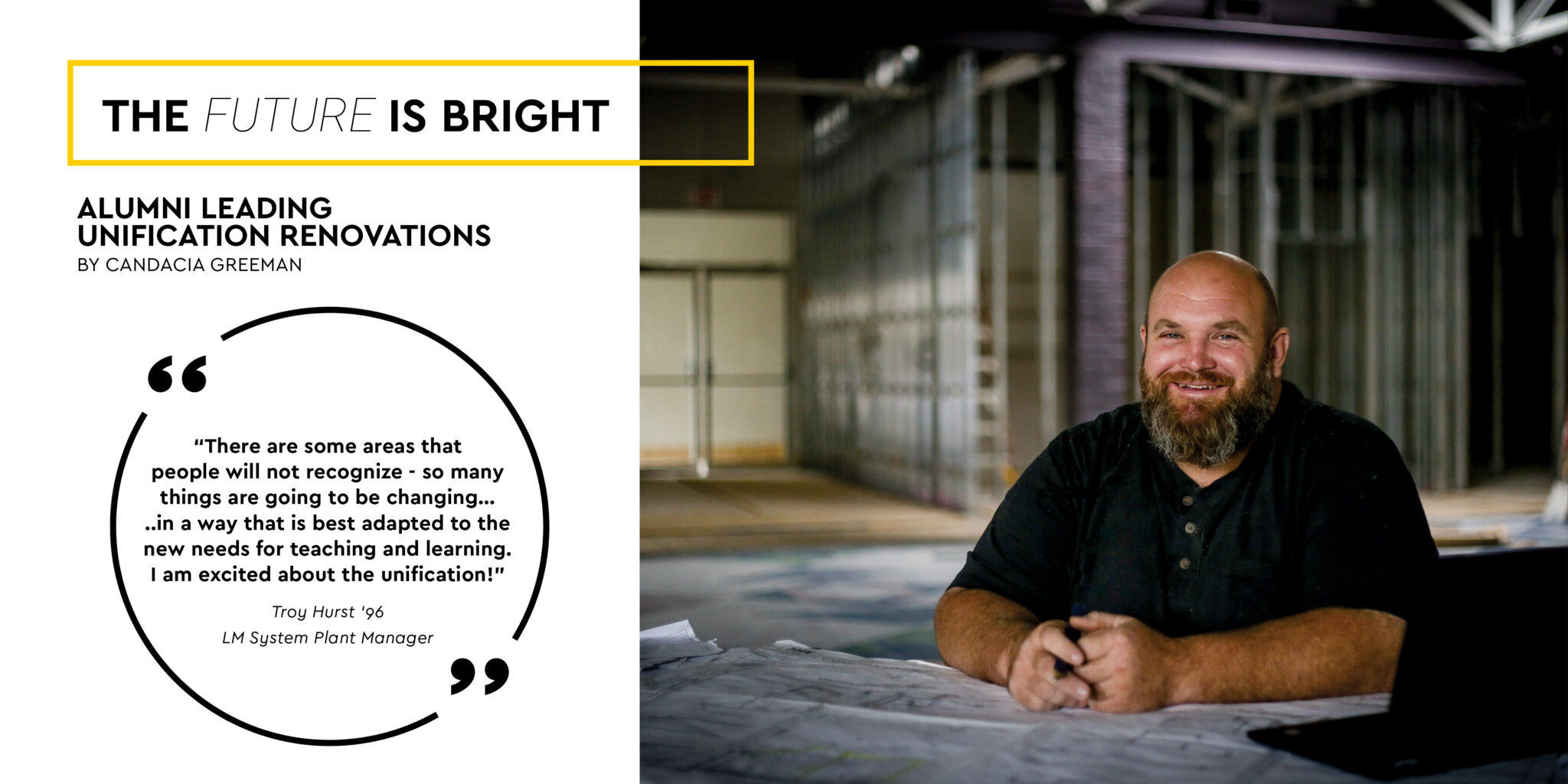 troy hurst in construction area with quote from article feature